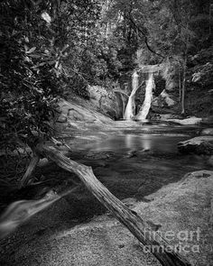 Widow's Creek Falls at Stone Mountain State Park in Roaring Gap, NC Waterfalls in Black and White. North Carolina State Parks