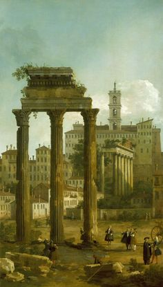 - Rome: Ruins of the Forum looking Towards the Capitol (Giovanni Antonio Canal (called Canaletto) - ) 1742