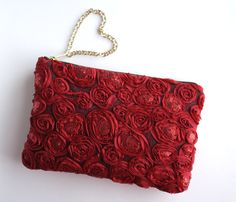 Romantica -  Red Sequined Rosette Swirl Clutch Purse. Red Mesh Lace Pouch. Evenng Bag. Valentines Gift for Her. Free US Shipping on Etsy, $59.00