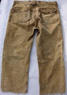 Waxed cotton buckle back pants. Vintage