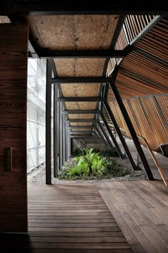 Brilliant architecture. all the wood and greenery. yummy