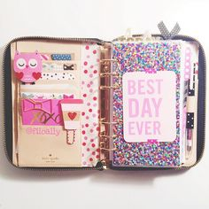 Filofax shared by Turton on We Heart It Cute Planner, Happy Planner, Filofax Original, Kate Spade Planner, Cute School Supplies, Planner Supplies, Planner Organization, Organizing, Stationary Organization