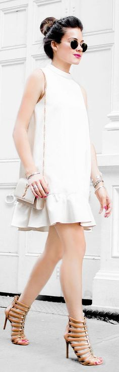 Sarah Styles Seattle White Sleeveless A-line Little Dress Fal Inspo