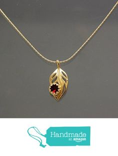 Swarovski Siam Crystal Bezel-Set Curved Leaf Pendant Necklace - Gold Plated Snake Chain, 1 & 16-in from Martiana Jewelry https://www.amazon.com/dp/B01N9APQ44/ref=hnd_sw_r_pi_dp_Y3Uqyb9NGPM23 #handmadeatamazon #martianajewelry