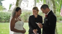 Tips, suggestions and filmed examples of wedding vows written by couples and recited on their wedding day.