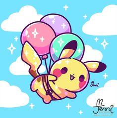 Super cute balloon pikachu digital art by I love kawaii pokemon fan art!