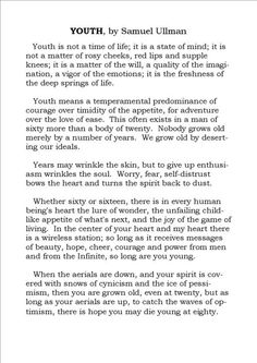 youth by samuel ullman meaning