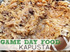 A traditional dish in Poland, kapusta is a fabulous chilly-weather comfort food. The recipe is economical, and feeds an army! While the dish does take a long time to cook, the cooking process itself is incredibly easy. Kapusta makes a great game day recipe and is always a crowd pleaser! Sauerkraut Recipes, Cabbage Recipes, Slow Cooker Recipes, Crockpot Recipes, Cooking Recipes, Slow Cooking, Kapusta Recipe Polish, Polish Recipes, Polish Food