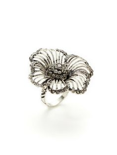 Swarovski Crystal Oversized Flower Ring by Azaara Vintage at Gilt Black Diamond, Swarovski Crystals, Silver Rings, Wedding Rings, Jewels, Engagement Rings, Stone, Flower Rings, Flowers
