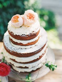 Naked cake | Bridal shower | Photo by D Arcy Benincosa |  Le Loup Cake | Read more - http://www.100layercake.com/blog/?p=76837