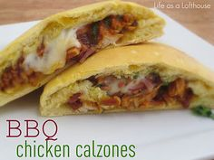 BBQ Chicken Calzones   1 can Pillsbury Grand's Homestyle Biscuit dough, 1  Chicken breast, 1/2 c Barbecue Sauce, 1/2 c Bacon crumbled, 1/2 c chopped Red Onion, Cilantro, Fresh Mozzarella, Shredded Mozzarella