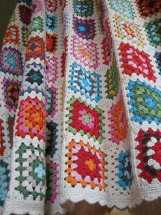 manta-colcha crochet ganchillo  lana hecho a mano a ganchillo