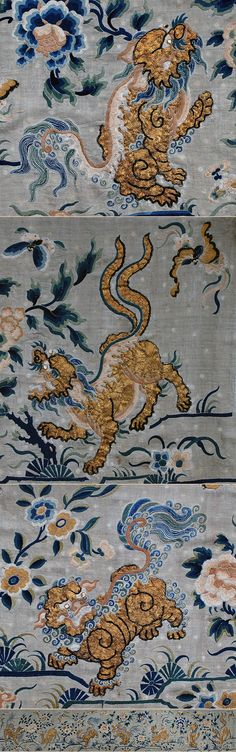 A very Rare Antique Chinese Silk & Gold Embroidery on silk  Qing dynasty, Yongzheng period 1723-1735 A.D