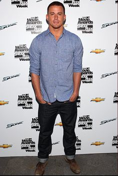 Channing Tatum in Joes Brixton Jeans. I like the shirt.