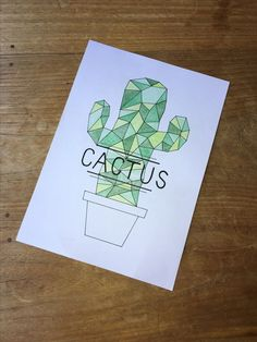 Geometric cactus drawing DIY and Crafts Doodle Drawing, Doodle Art, Painting & Drawing, Geometric Drawing, Geometric Art, Cactus Drawing, Easy Drawings, Pencil Drawings, Art Sketches