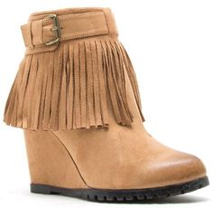 Are you loving this fringe craze?! We are absolutely in love with these adorable wedged booties featuring a non functional side buckle, fringe around the whole show, and a functional back zipper for easy on and off!Available in Three Colors: Camel (on the model), Black, and Taupe.*Wedge hieght 3 inches.