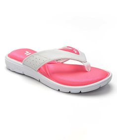 Look at this FILA White & Hot Pink Amazen Memory Portal Flip-Flop on #zulily today!