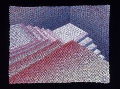Elizabeth Tuttle, Deep Blue Walls. Crocheted cotton sewing thread 9 x 12 inches 1980 to 1983 #contrastingcolor #complementarycolors #blues #blue #cooltone #warmtone #geometricart #geometry #crochet #art #fineart #fiberart #fibreart #textile #textileart #domesticlife #domesticart #conceptualart #architecture #design #stairs #opticalillusion Cool Tones, Conceptual Art, Blue Walls, Geometric Art, Optical Illusions, Deep Blue, Textile Art, Fiber Art, Pattern Design