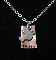 Faith Necklace with Dove Charm by TheJewelryChicks on Etsy