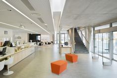 Image 11 of 30 from gallery of Public Library in Estaminet / Richard + Schoeller Architectes. Photograph by Sergio Grazia We Work Office, Lobbies, Entrance Hall, Stairs, Gallery, Ceilings, 30, Design, School