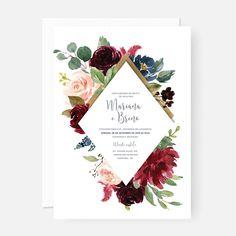 Arte digital convite casamento floral marsala (p/ imprimir)