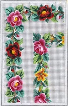 berlin woolwork chart Cross Stitch Rose, Cross Stitch Borders, Cross Stitch Flowers, Cross Stitch Charts, Cross Stitch Designs, Cross Stitching, Cross Stitch Embroidery, Hand Embroidery, Cross Stitch Patterns