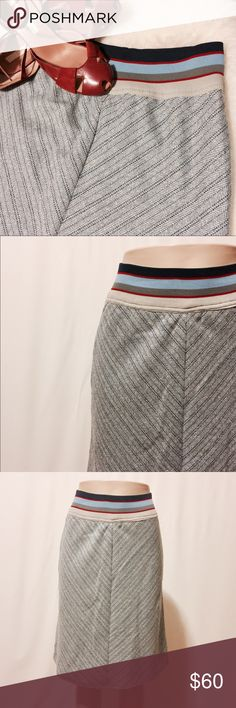 "Peteo Zillia Blue Herringbone Bias Midi Skirt Petro Zillia for Anthrax skirt. 3"" stripe elastic pull on waistband bias skirt. Mitered seams, fully lined. Body: 100% Wool Lining 100% Acetate 24"" Waist 38"" Hips 52"" Sweep 24"" Overall length Skirts Midi"