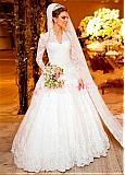Buy discount Fantastic Tulle & Satin V-Neck A-line Wedding Dresses With Beaded Lace Appliques at Dressilyme.com