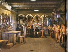 This is the Western Tack Room, It can be a mess. There is a mini fridge in a corner. Dream Stables, Dream Barn, Tack Room Organization, Horse Tack Rooms, Western Horse Tack, Horse Ranch, Horse Stalls, Barn Plans, Horse Farms