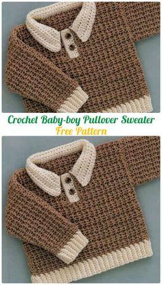 Crochet Baby-boy Pullover Sweater Free Pattern - Crochet Kid's Sweater Coat Free Patterns