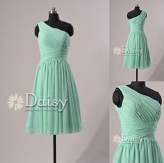 Top Option: 2013 One-Shoulder Short Mint Bridesmaid Dress Chiffon Knee Length Cocktail/Homecoming/Party Dress Short Bridesmaid Dress(BM032230). $89.00, via Etsy.