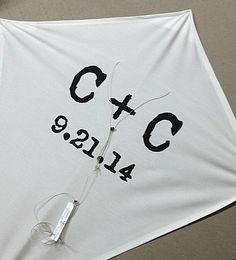 Custom kite. Handmade. Typography. Black & white. Personalized. Wedding gift. Wedding prop. Wedding decor. Kites