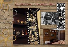Sala de TV com painel fotográfico Rolo de filme antigo aplicado no MDF.