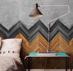 Concrete with herring bone parquetry timber wall LOVE!