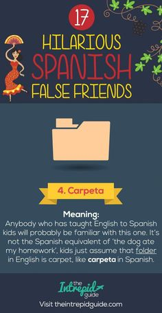 False Friends in Spanish False cognates - Carpeta #spanishlessons