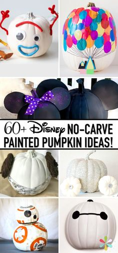Over 60 of the BEST Disney painted pumpkin concepts and tutorials! These good directions could have you portray princess pumpkins, superhero pumpkins, Toy Story pumpkins,. Disney Halloween, Happy Halloween, Halloween Crafts, Vintage Halloween, Disney Pumpkin Carving, Pumpkin Art, Cute Pumpkin, Pumpkin Crafts, Non Carving Pumpkin Ideas