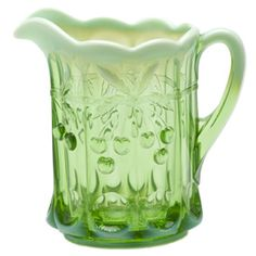 Cherry Thumbprint Green Opal Pitcher