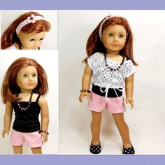 American Girl Doll Clothes Short, Lace Top, Tank Top, Headband, Necklace and Bracelet