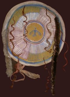 Sioux shield - Replica museum SIOUX brain tan buffalo soft cover featuring either human or horse hair, otter and coyote fur. Painted with earth pigment paints.