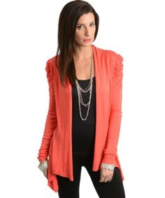 Amazon.com: 247 Frenzy Women's Ruched Shoulder Long Sleeve Cardigan - Coral (One Size Fits Most): Clothing