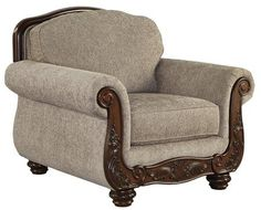 Ashley Cecilyn Collection 5760320 Living Room Chair with Fabric Upholstery Rolled Arms Piped Stitching Carved Detailing and Traditional Style in -- You can find more details by visiting the image link. (This is an affiliate link) #LivingRoomFurniture