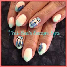 Hand painted feathers on ombré By Trai-Sea's Escape Spa