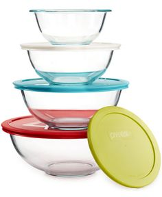 Pyrex glass mixing bowls  Pyrex 8-Piece Mixing Bowl Set with Colored Lids, Only at Macy's