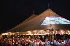 tented reception video under paper star lanterns