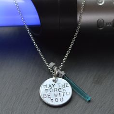 Star Wars Necklace, May The Force Quote, Lightsaber Jewellery, Light Saber Jewelry, Geeky Gift, Cosplay Jewelry, Hand Stamped Charm - pinned by pin4etsy.com