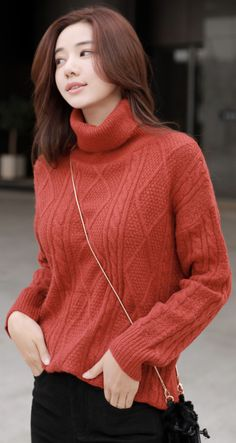 5fab419061 Diamond Cable Knit Turtleneck Knit Sweater