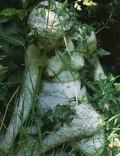 The reason why the Agazel Kingdom is lost is due to a curse that turned all the civilians into stone. Overgrown stone statues are found throughout the environments. Dream Garden, Garden Art, Moon Garden, Garden Statues, Garden Sculpture, The Secret Garden, Hidden Garden, Purple Home, Beltane