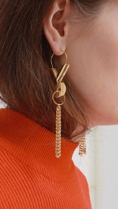 Farris earring. Extra long statement. Lightweight enough for all day wear yet dramatic.
