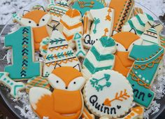 Wild one woodland Bono fox tent  first birthday decorated cookies