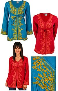 Free trade tunic from India. Purchase helps fund research and therapy to help children with autism.